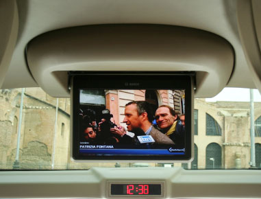 Audio/Video with retractable lcd monitors, cd/dvd and Satellite Navigator.